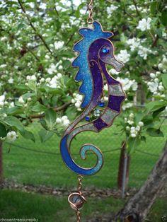 SEAHORSE WINDCHIMES 24.25 in. garden yard decor GARDEN DECOR BLUE SEA HORSE