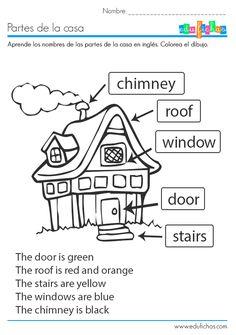 Ficha educativa coloreable para aprender las partes de la casa en inglés. Descarga nuestras fichas educativas gratis para casa o como recurso para el aula.  #ingles #casa #house #worksheet