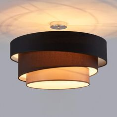 Ceiling lamp Melia, black and brown- Deckenlampe Melia, schwarz und braun  Ceiling lamp Melia, black and brown   -#lampshadeglass #lampshademacrame #pendantlampshade #uniquelampshade #woodenlampshade Floor Lamp Shades, Ceiling Lamp Shades, Ceiling Lights, Floor Lamps, Bedroom Lighting, Interior Lighting, Fabric Ceiling, Wooden Lampshade, Luminaire Led