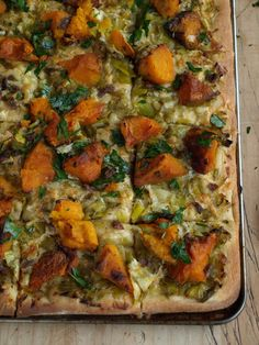 A cool-season pizza with little salty shards of anchovy . Seasons Pizza, Roast Pumpkin, Vegetable Pizza, Stew, Fruit, Kitchen, Recipes, Food, Roasted Squash