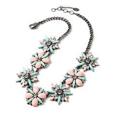 """Amrita Singh """"Ritzy"""" Necklace in peach and light turquoise."""