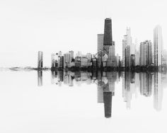 Photography of the Chicago Skyline - sound wave, wall art print, black and white, minimalist, abstract, urban home decor, Chicago photograph