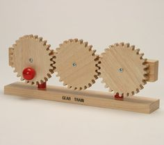 Love this Gear Train Wood Model on Kinetic Toys, Gear Train, Wooden Gears, Wonderful Machine, Simple Machines, Montessori Materials, Wood Toys, Wooden Diy, Woodworking Tips
