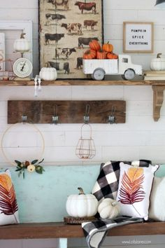 Love This Farmhouse Chic Mantel In This Pretty Entryway. Design For Fall Beaut. Love This Farmhouse Chic Mantel In This Pretty Entryway. Design For Fall Beautifully And Easy. Small Entryway Bench, Fall Entryway, Entryway Decor, Entryway Ideas, Hallway Ideas, Hallway Decorating, Porch Decorating, Decorating Ideas, Decor Ideas