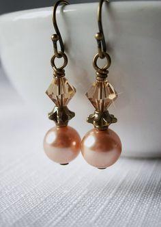Swarovski Topaz Crystal and Rose Peach Pearl by BeadedDetails, $17.00