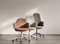The Lan Desk Chair is a collection of alternative office task chairs that is both compact and welcoming with integrated elements. Lan offers three backrest heights for the swivel chair model and a low-back for the four wooden-legged version. Desk Chair Comfy, Swivel Chair, Chair Design, Furniture Design, Home Goods Furniture, Office Seating, Office Chairs, Ergonomic Chair, Furniture Manufacturers