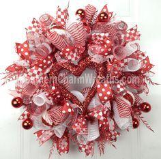valentine mesh wreaths - Google Search
