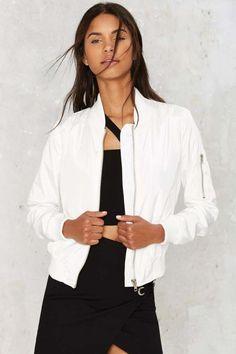 So Bomber Jacket - White - Clothes | Bomber + Utility