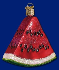 Today is #NationalWatermelonDay and the Old World Christmas Watermelon Wedge ornament stands just over 3 inches tall and looks delicious enough to eat! It's the perfect cool summer treat. #oldworldchristmas #watermelonwedge