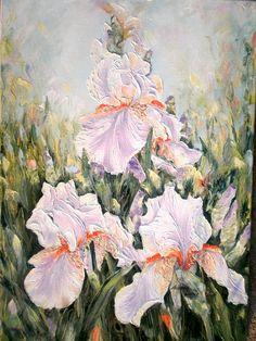 """Irisi de vis"" pictura ulei/panza, 70cm/50cm, 2017 Iris, Oil On Canvas, World, Painting, The World, Irises, Painted Canvas, Painting Art, Paintings"