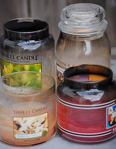 such a great way to reuse your candles and candle jars once they begin looking like this!