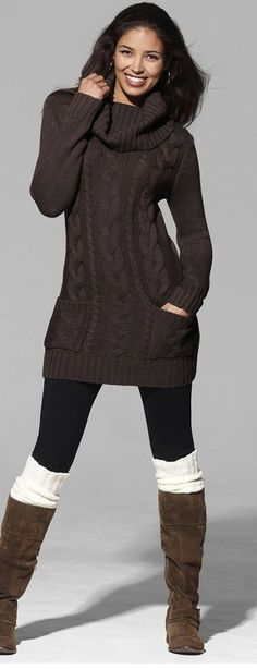 "I.want.this.outfit. I've been searching everywhere for a sweater dress, flat brown boots, and knitted boot ""socks"""