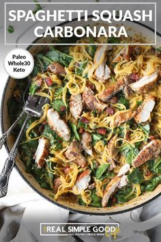 This Paleo, Whole30   Low Carb spaghetti squash carbonara is dairy-free, creamy and has bacon in it! It checks all the boxes and is great for meal prep! | realsimplegood.com #paleo #whole30 #lowcarb #spaghettisquash #bacon #chicken Whole 30 Recipes, Real Food Recipes, Cooking Recipes, Healthy Recipes, Pork Recipes, Healthy Eats, Keto Recipes, Spaghetti Squash Carbonara, Cooking Spaghetti Squash