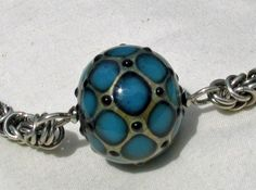 Graduated Sterling Chainmaille with Michael Barley lampwork necklace - by Janet Bocciardi, Honey from the Bee