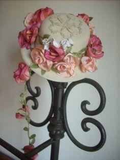PINK ant.millinery Vintage style 6 silk ROSE BUD fabric flowers ALEXANDER dolls
