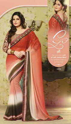 Zarin Khan Orange Brown Heavy Embroidered Plain #GeorgetteSaree #craftshopsindia #bollywoodreplica