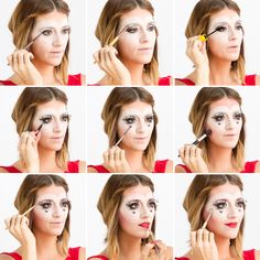 Follow this tutorial to DIY Queen of Hearts makeup.