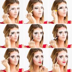 Follow this tutorial to DIY Queen of Hearts makeup.