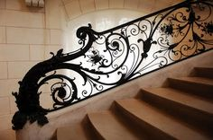 Art Nouveau Stairwell Railing & Scroll work - When I start doing up my multi-million-dollar home, you know, after the lotto, I'll want something like this. Very very cool.