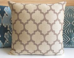 Beige and tan moroccan quatrefoil decorative throw pillow cover