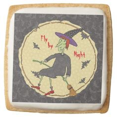 Fly By Night Witch Square Shortbread Cookie - halloween decor diy cyo personalize unique party