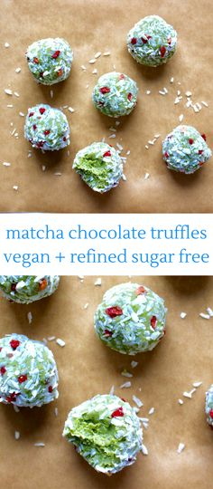 Matcha White Chocolate Truffles (Vegan, GF and Refined Sugar Free)