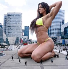 Giantess Booru (Image 185828: barefoot brunette cindy_landolt city collage crowd_at_her_feet giantess kneeling long_hair muscles swimsuit) - Giantess Artwork, Giantess Collages, Giantess Vore, Giantess Everything!