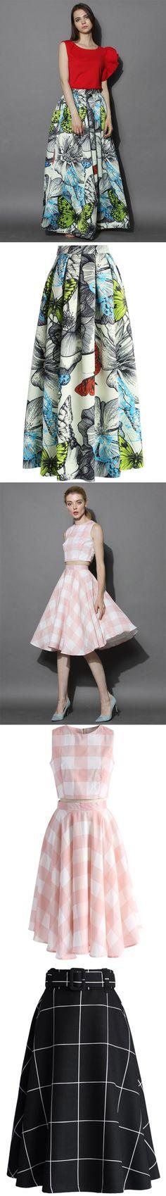 butterfly print skirt, check print skirt