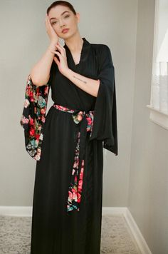 One custom black long Haiku robe in faux silk crepe with pockets Vintage Bohemian Boudoir Pinup Kimono Femme Fatale Tall Women Gift for her
