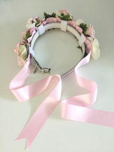 Pastel Pink Rose Flower Dog Collar for Weddings by CupidCollars                                                                                                                                                                                 Más