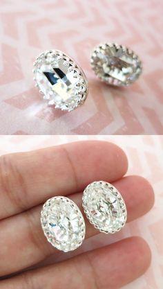 Sterling Silver Swarovski Oval Crystal Ear Studs, Wedding Bridesmaid Gift Bridal Earrings Bridesmaid Jewelry Clear Crystal Earrings, www.glitzandlove.com