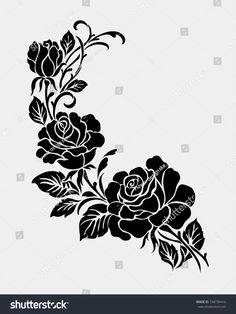 Find Rose Motifflower Design Elements Vector stock images in HD and millions of other royalty-free stock photos, illustrations and vectors in the Shutterstock collection. Texture Painting On Canvas, Stencil Painting On Walls, Stencil Art, Fabric Painting, Hand Embroidery Designs, Embroidery Art, Rosa Stencil, Motifs Roses, Fabric Paint Designs