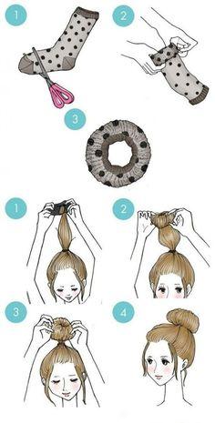 Pour faire un chignon grâce à vos chaussettes orphelines: | Des graphiques qui aideront toutes les filles nulles en coiffure