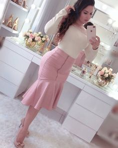 (notitle) - outfits in 2020 Frock Fashion, Fashion Outfits, Skirt Outfits, Dress Skirt, Elegant Office Wear, Iranian Women Fashion, Latest African Fashion Dresses, Fashion Models, Casual Dresses
