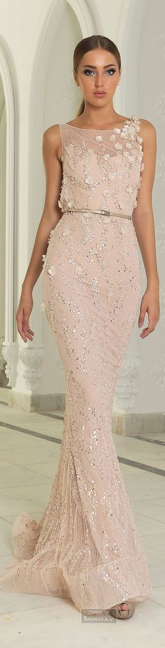 Abed Mahfouz Fall Winter 2014-2015 evening dress in pale pink and flitters. Sooo romantic.