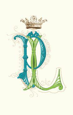 LETTERS P & L Crown of Monograms