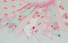 Shabby Chic Party Bunting - TILDA in PINK & AQUA - The perfect decoration for Weddings, Parties and Baby Showers. $33.75, via Etsy.