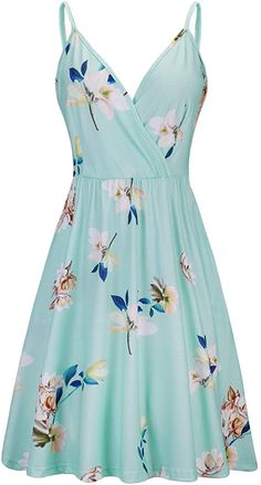 STYLEWORD Women's V Neck Floral Spaghetti Strap Summer Casual Swing Dress with Pocket at Amazon Women's Clothing store Pretty Outfits, Pretty Dresses, Sexy Dresses, Beautiful Dresses, Casual Dresses, Summer Dresses, Women's Casual, Teen Fashion Outfits, Cute Fashion