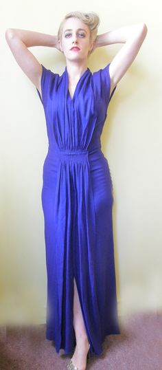 Cobalt wool crepe evening gown Schiaparelli 1940s 8 | Circa Vintage Clothing