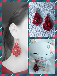 Soutache earrings red flowers