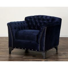 Waterford Navy Velvet Club Chair | Overstock.com Shopping - Great Deals on Chairs