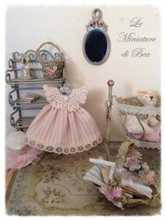 1/12 Sweet baby girl dress crochet and hanger miniature - dolls house - hand made - shabby chic