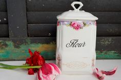 Antique Flour Canister Ceramic Victoria Art by ironstonevintage, $34.00