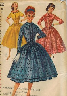 1950s Simplicity 1722 Vintage Sewing Pattern Misses One-Piece Dress Size 14 Bust 34