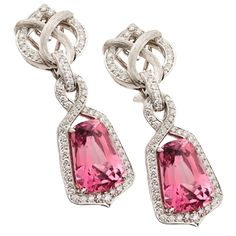 Pink Spinel and Diamond earring set in platinum