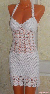 Moldes y patrones de solero de dama punto fantasía tejido con ganchillo