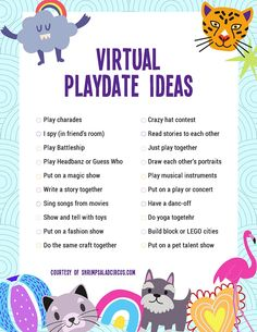 Virtual Playdate Ideas with Free Printable Checklist - Get this free printable list of virtual indoor playdate ideas for kids. Keep your kids feeling busy - Date Activities, Summer Activities, Learning Activities, Preschool Activities, Play Therapy Activities, Indoor Activities, Physical Activities, Teaching Ideas, Video X