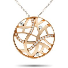 Bergio Rose and White Gold Round Safari Diamond Pendant