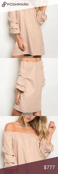 Blush Pink SUEDE OFF SHOULDER DRESS Brand new Boutique item  Look at this chic and sassy soft suede-like off shoulder BLUSH PINK dress featuring ruffled detailed 3/4 sleeves. grab your favorite knee high boots to pair with this dress OR wear with heels and statment earrings!!!!  100% polyester Modeled in a size small  DATE VALENTINES DAY VALENTINE'S PARTY BABY SHOWER FORMAL EVENT VEGAS VACATION TRENDING COLD SHOULDER RUFFLED SLEEVES TUNIC STYLE DRESSES SKIRT ... Dresses