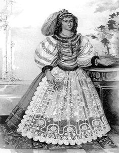 The fashions of seventeenth-century Hungarian noblewomen were the model for a national dress worn two centuries later. Source: Merenyi, Lajo...